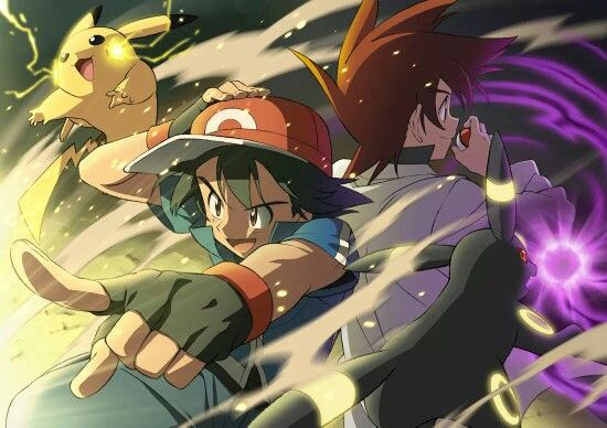 Ash Ketchum and Pikachu with Gary Oak and Umbreon ♡ I give good credit to whoever made this