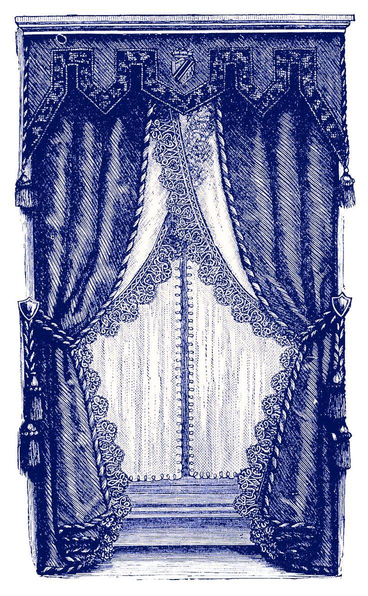 Vintage Clip Art – Fancy Victorian Curtains -Draperies