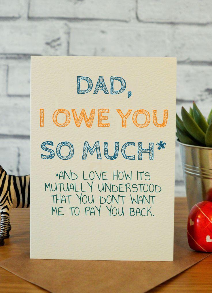 Owe Dad Dad birthday card, Father birthday cards, Funny