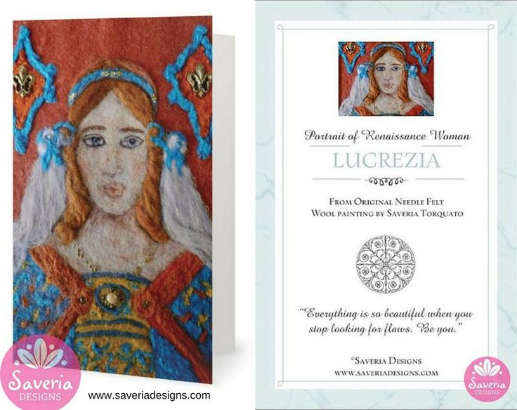 Lucrezia - Renaissance Card with Inspirational Quote Insert by Saveria Designs