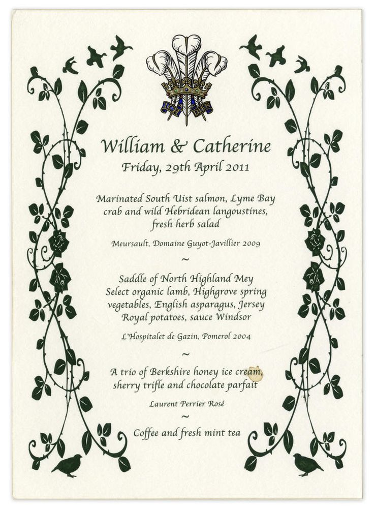 Prince William and Kate Middleton's Royal Wedding Menu Card Was Sold at Auction For $1,250! | Photo by: Nate D. Sanders Fine Autographs & Memorabilia | TheKnot.com