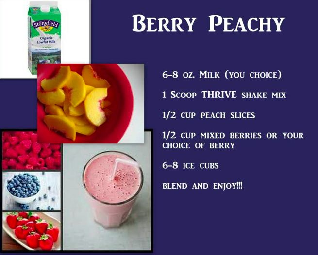 Berry Peachy made with Thrive Shake Mix!  Yummy - Order yours at  http://shannaross.Le-Vel.com