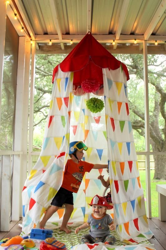 Awesome tutorial for turning an IKEA duvet cover into a circus themed play canopy! Perfect for playrooms, nurseries, and kids spaces. Visit our shop at bluehousejoys.com/shop/ for more inspiration!