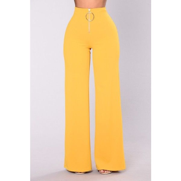 Willow Wide Leg Pants Mustard ($33) ❤ liked on Polyvore featuring pants, wide leg trousers, high waisted wide leg pants, high waisted zipper pants, zipper trousers and yellow pants