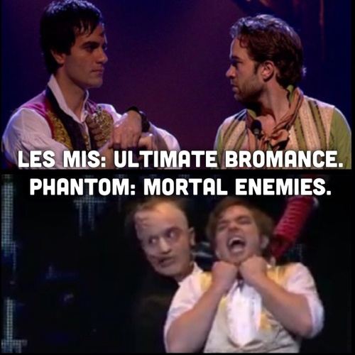 Don't forget when they play Valjean/Javert, which is basically the perfect middle ground. Ramin Karimloo & Hadley Frasier.