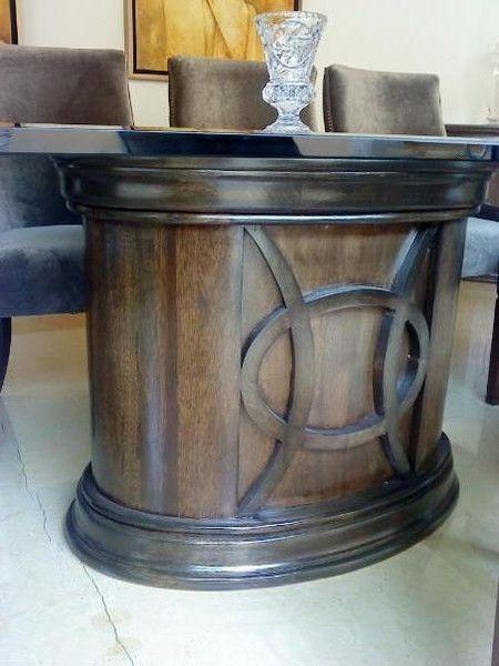 Base kroud para mesa de comedor ovalada en madera de for Banak mesas comedor