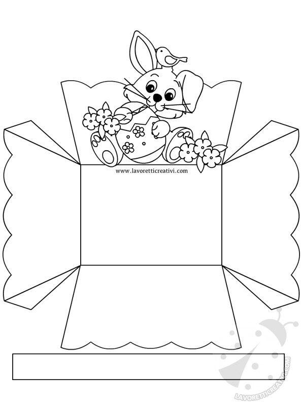 PORTA OVETTI DA STAMPARE Cestino di Pasqua porta ovetti nella versione a colori e da colorare. Materiale: pennarelli colla stick forbici