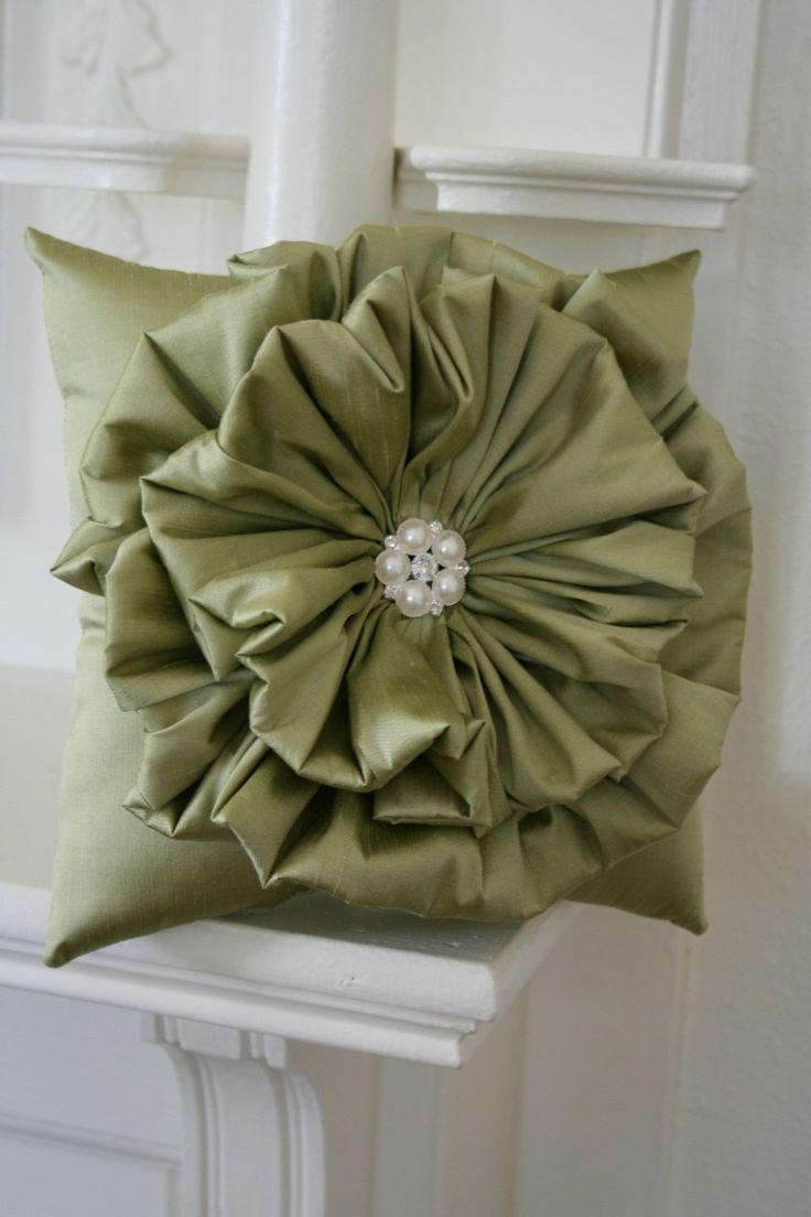 Olive Green Ruffle Flower Pillow. $48.00, via Etsy.