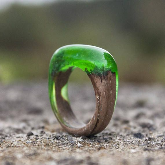 Green ring  resin wood