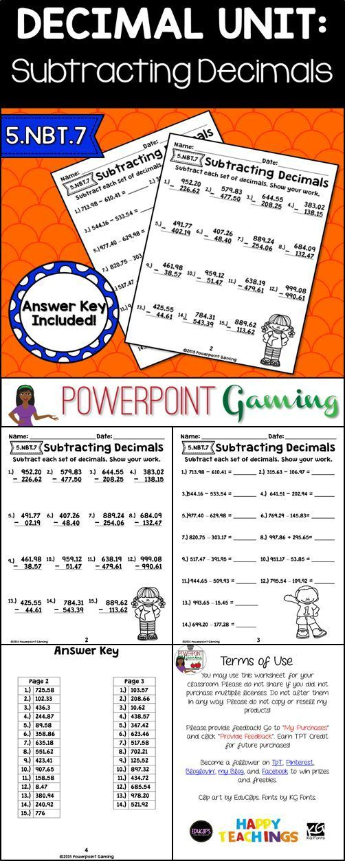 Best 25+ Decimals worksheets ideas on Pinterest | Math fractions ...