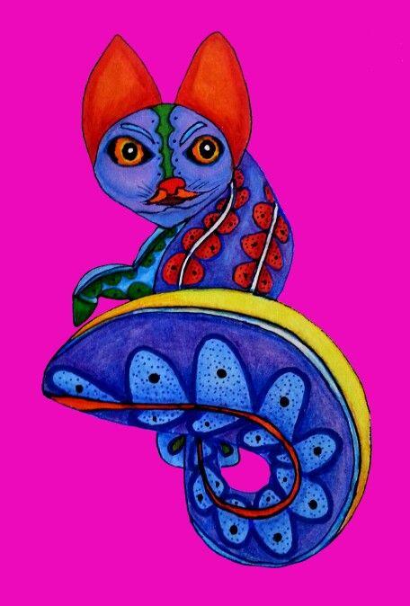 Mexican Art Alebrije cat by Cynthia Cabello  https://www.etsy.com/shop/Kalakita?ref=hdr_shop_menu