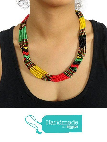 African Zulu beaded short necklace - Rasta colours from Gone Rural - Safari Curios https://www.amazon.com/dp/B01BT33N0K/ref=hnd_sw_r_pi_dp_YLrwzbJ70YVG3 #handmadeatamazon