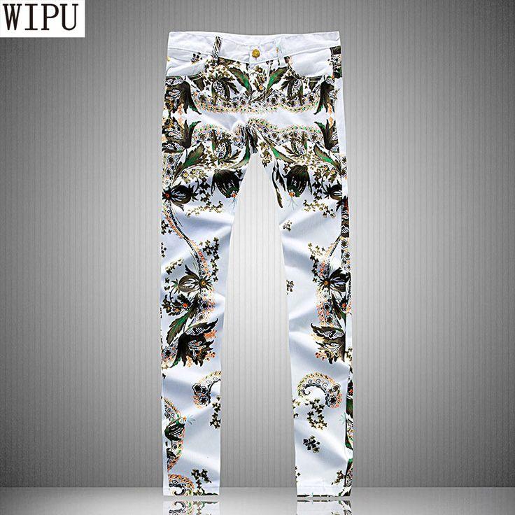 Plus size size 29-38 denim Men's pants 2017 New White Printed Fashion Men Jeans Elastic Printing fashion jeans homme #Affiliate