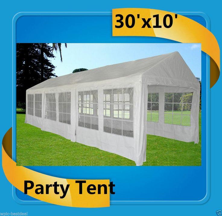 30' x 10' Heavy Duty Carport Party Tent Canopy Car Shelter w walls - White