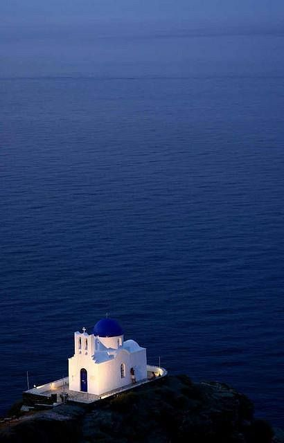 Blue and white church in Sifnos