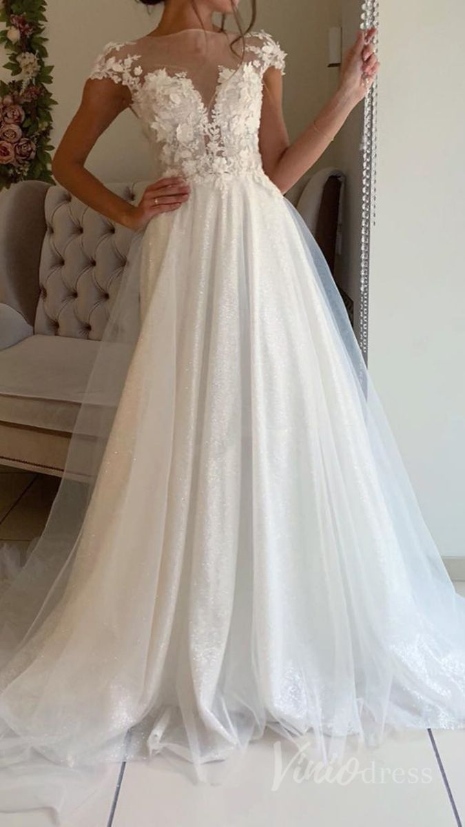 Sparkling Beach Wedding Dresses With 3d Floral Bodice Vw1262 With