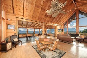 The incredible living room of a cabin in Gatlinburg TN.