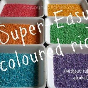 rainbow rice - happy hooligans - dying rice - how to colour rice