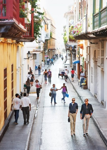 Cartagena's Calla de la Mantilla, in the heart of the old town, is lined with boutiques and restaurants.