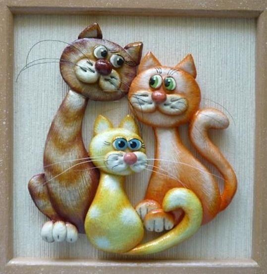 Картинки кот из соленого теста