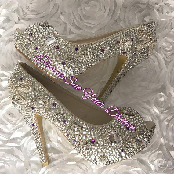 Swarovski Crystal Custom Platform Pumps Swarovski Crystal Etsy In 2021 Crystal Wedding Shoes Wedding Shoes Heels Rhinestone Wedding Shoes