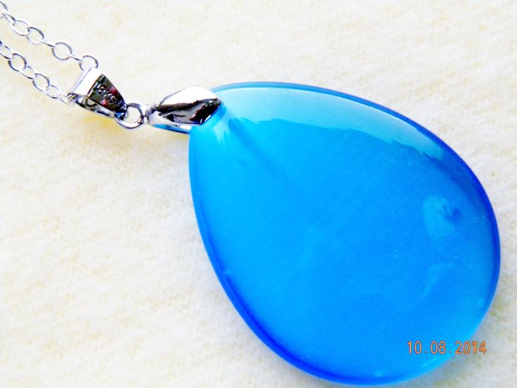 """Blue teardrop pendant on 16"""" chain.Cats-eye glass necklace.Graduation gift.Sweetheart gift.Bridesmaid gift.Teen gift. by SantaFeCollection on Etsy"""