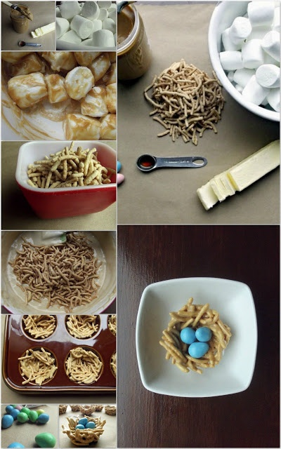 Easter edible birds nest recipe  3c large or mini marshmallows, 3tbs unsalted butter, 1/2tsp vanilla, 2tbs peanut butter, 4c dry chow mein noodles