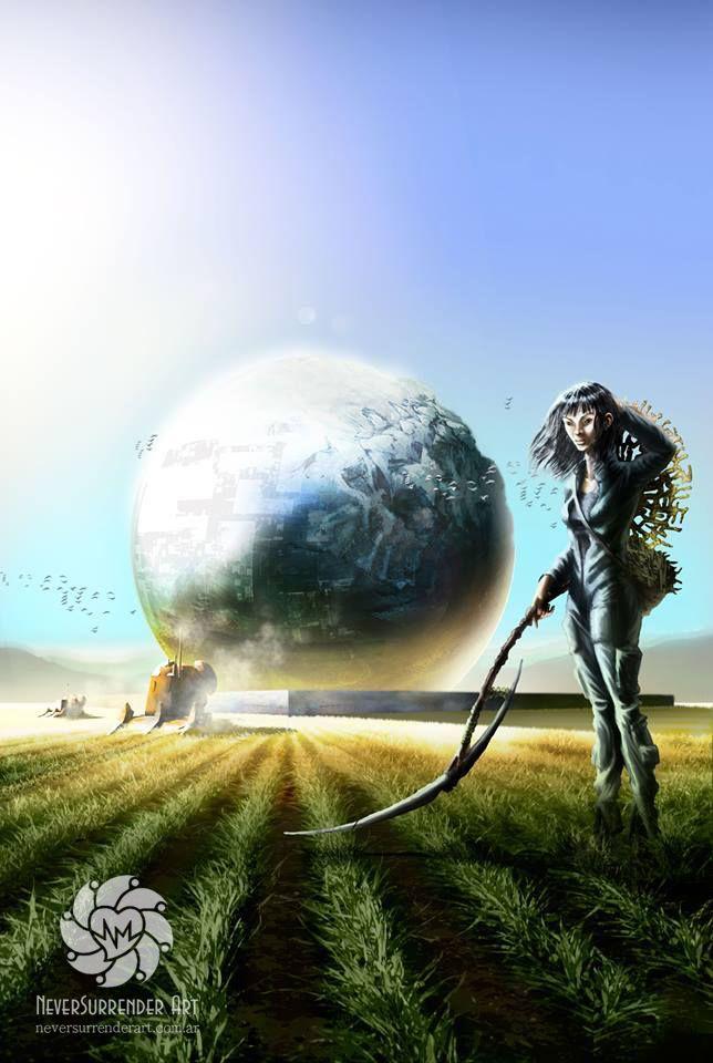 Space Farmer, for a sci-fi cover book.