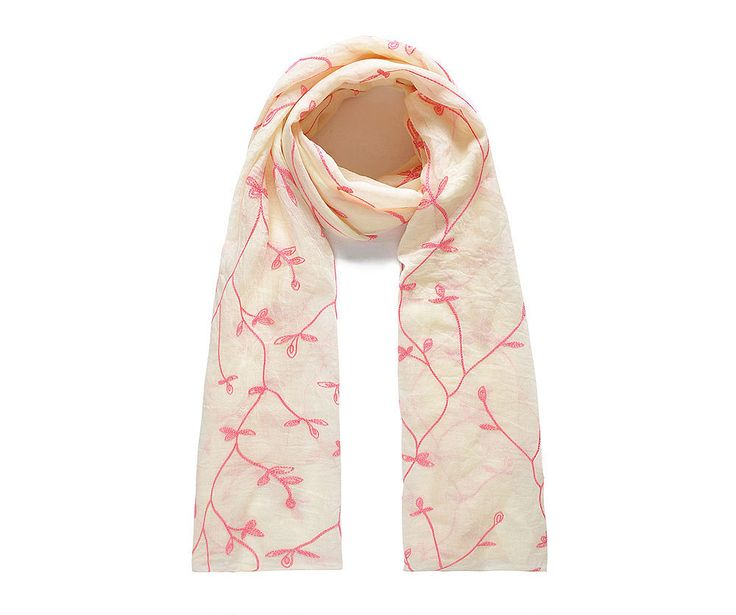 Vanilla/pink leafy embroidered scarf