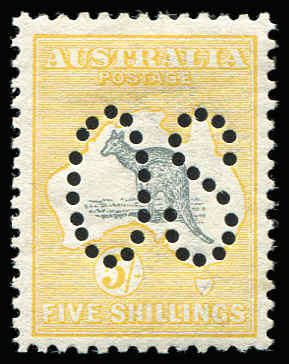 AUSTRALIA - Kangaroos - First Watermark 5/- Grey & Yellow Perf Large 'OS' BW #42ba, very well centred, fine mint, Cat $1,750.