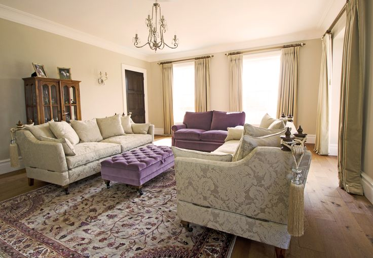 Purple and cream Knoll sofas Georgian style interiors www.suescammellinteriors.co.uk