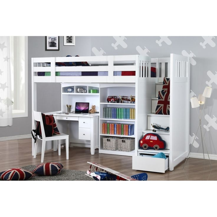 bunk bed with desk and bookcase