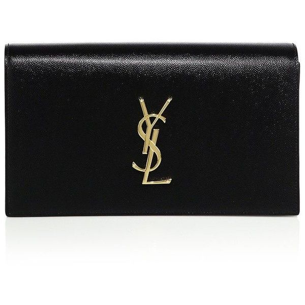 Saint Laurent Small Textured Leather Monogram Clutch (4.980 RON) ❤ liked on Polyvore featuring bags, handbags, clutches, apparel & accessories, monogram purse, yves saint laurent purses, monogram handbags, monogrammed clutches and yves saint laurent handbags