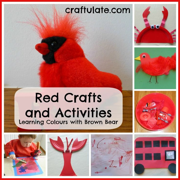 Red Crafts and Activities {Learning Colours with Brown Bear Series} - Craftulate I'm partial tot the feathered bird craft.