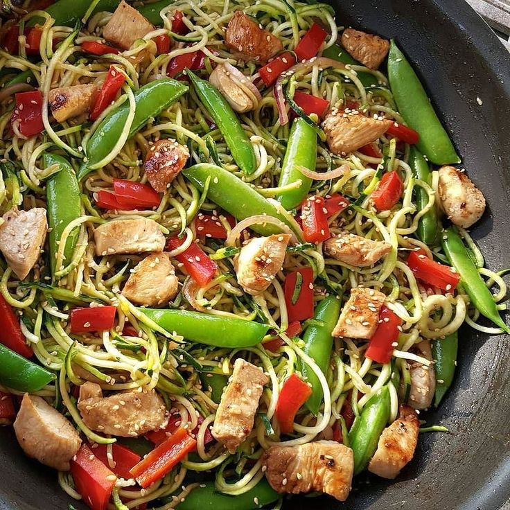 ᕼEᖴE'ᔕ ᒪOOKIᑎG ᗩT ᒪᑌᑎᑕᕼ - #Repost from @cleanfoodcrush  Asian Zucchini Noodle Stir-Fry . . Pin it! http://ift.tt/2mwpJmK . . {Oh man! Sooo good!} 4-6 servings  Ingredients: 1/2 cup chicken or vegetable broth 2 Tbsp low sodium soy sauce coconut aminos or Braggs liquid aminos divided  2 tsp potato starch or cornstarch 3 Tbsp olive oil divided 1 Tbsp minced garlic 1 tsp minced fresh ginger 1-1.5 lb chicken tenders diced 1 large red bell pepper chopped  1/2 cup sliced red onions 1.5 cups sugar…