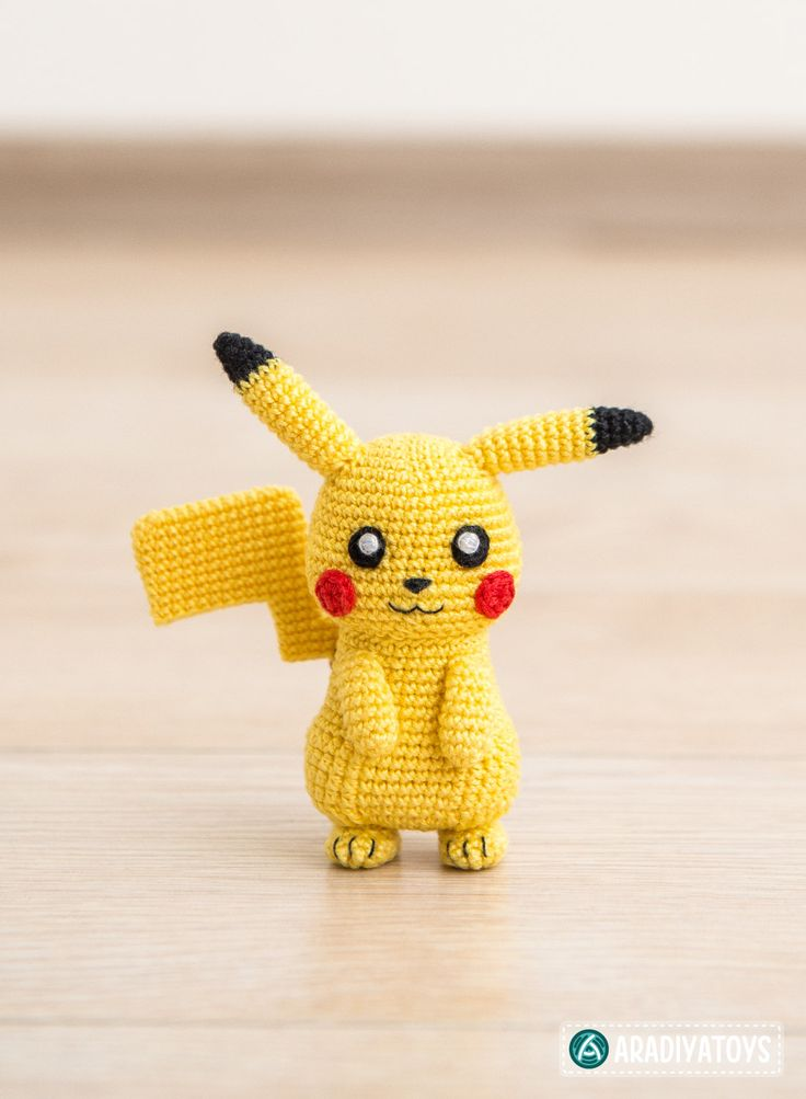 """Please note that this is a crochet pattern (PDF file), but not a toy. The file will be available for download immediately after purchase. This crochet pattern contains a detailed description of how to create Pikachu, with a great amount of step-by-step photos and a list of necessary materials.  Pikachu – character from popular franchise """"Pokemon"""" that is managed by The Pokémon Company, a Japanese consortium between Nintendo, Game Freak, and Creatures. Materials needed to create a 3.75-inches…"""
