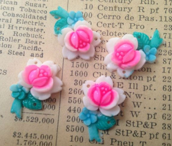 Vintage Hand Painted Flower Cabs  Pink Rose Sew Ons