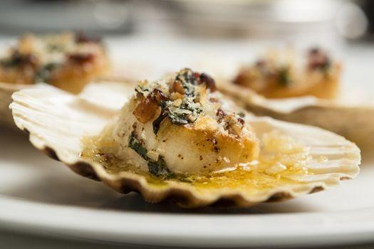 Coquilles St Jacques at L'Escargot, London  #food #scallop #London #restaurant #seafood  http://www.squaremeal.co.uk/restaurant/l-escargot?