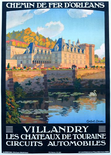 """The February Image of the Month: """"Villandry"""" 1923, 41"""" x 29"""",  by Constant-Duval. Constant-Duval was a prolific poster artist in the early 1900's and did most of his work for French railroads. #French #railroad #posters #imageofthemonth #vintageposters #vintage #posters #chicago #artgallery #constantduval #chicagocenterfortheprint #travel #travelposters #railroadposters"""