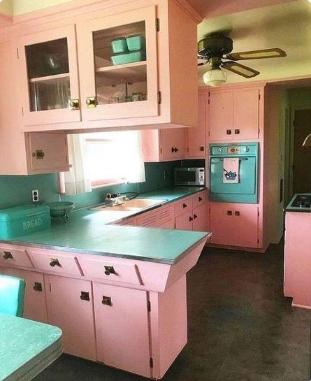 Home Decor Accessories Vintage Kitchen Retro Kitchens Pink 1950s