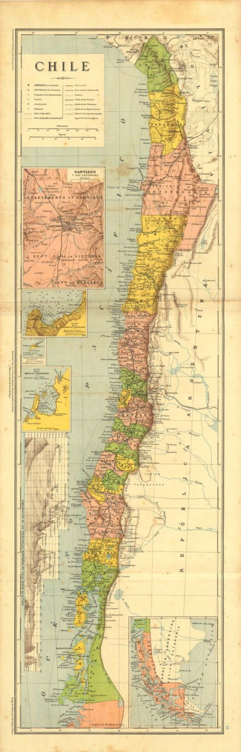 Antique Map of Chile 1899