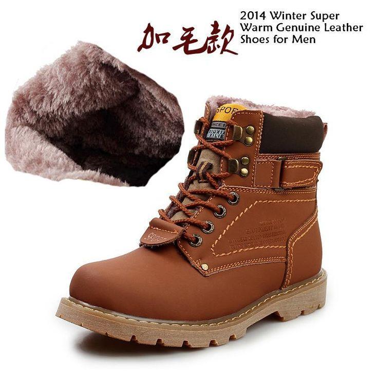 2014 мужчины зимняя мода снегоступы мужчин из натуральной кожи теплые ботинки на открытом воздухе досуг мартин сапоги англия ретро обувь для мужчин, принадлежащий категории Ботинки и относящийся к Обувь на сайте AliExpress.com   Alibaba Group