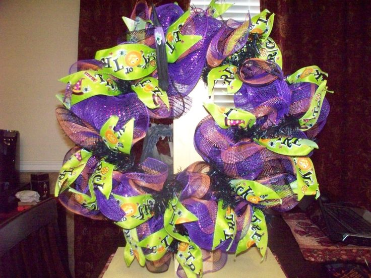 Halloween Purple and Green Deco Mesh Wreath by WreathsBowsandThings on Etsy