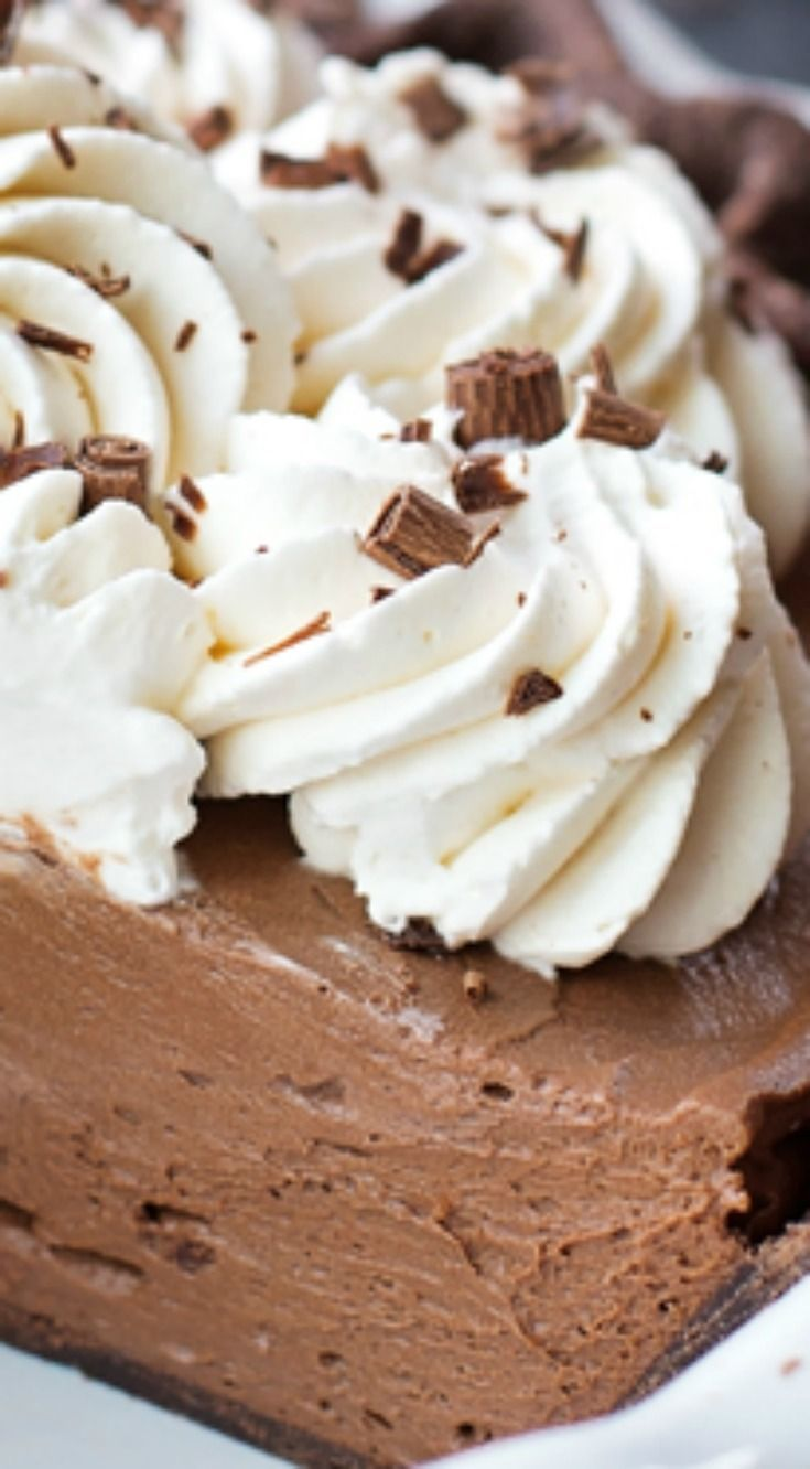 Double Chocolate French Silk Pie ~ It has a chocolate pie crust, rich & silky chocolate filling, and of course, lots of freshly whipped cream... A chocolate lover's dream.