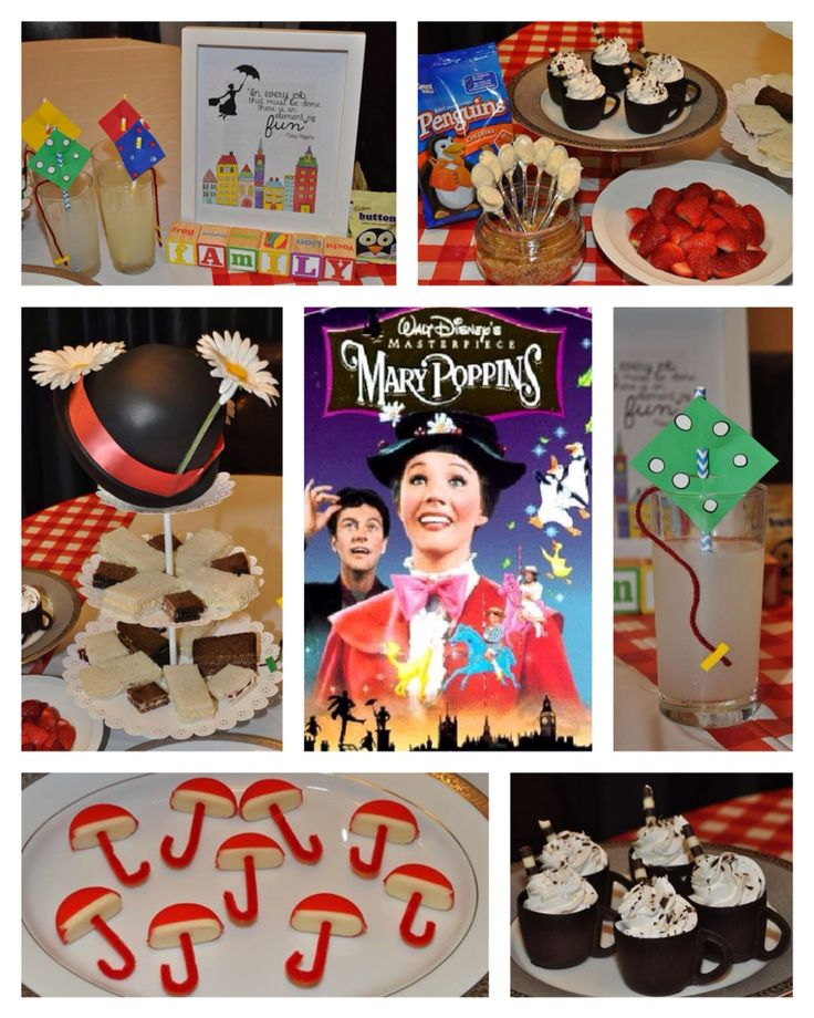 Disney Dinner and a Movie Night ~ Mary Poppins Party. We had tea sandwiches, spoonfuls of sugar (sweet yogurt dip), strawberries, umbrellas (babybel cheese), let's go fly a kite drinks and an edible chocolate mousse teacup for dessert. For a snack during the movie we had penguin shaped crackers and penguin candy.