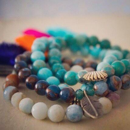 Yoga bracelet amazonite,agates,ses sediments magnesite