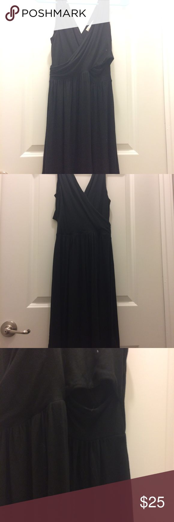Never Worn! JerseCriss-Cross Cutout Black Sundress Breezy cotton sundress with criss-cross front and back top. There is a cutout on one side for an interesting take on the hot style of dress cutouts. LOFT Dresses Midi