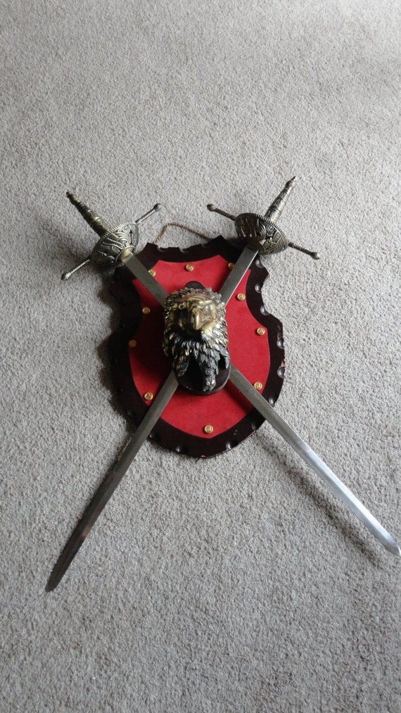 Vintage Sword Set With Gold Head Eagle Wall by tennesseehills, $40.00