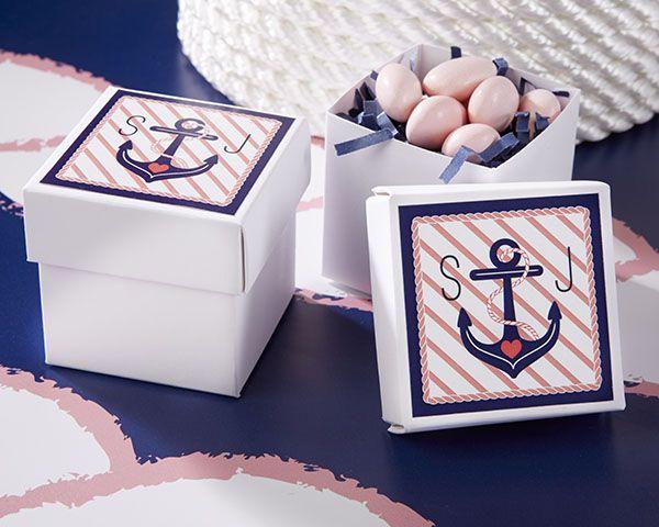 Personalized Square Favor Boxes - Nautical Bridal Shower - Favor Boxes       #favorbox #weddingdecoration #partydecoration #candybox #weddingfavorbags