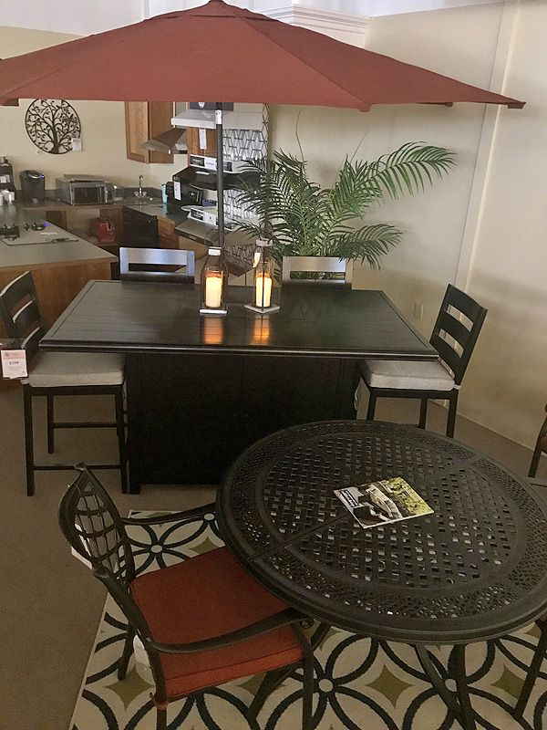 Bar Fire Table With Stainless Steel, Top Furniture Gorham Nh